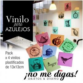 VINILO PARA AZULEJOS VINTAGE x 4 - No Me Digas